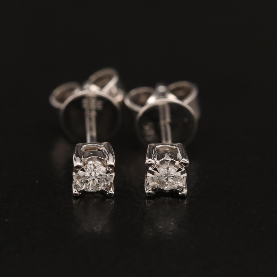14K 0.11 CT Diamond Stud Earrings