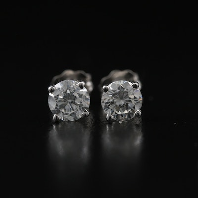 14K 0.91 CT Diamond Stud Earrings with GIA eReports