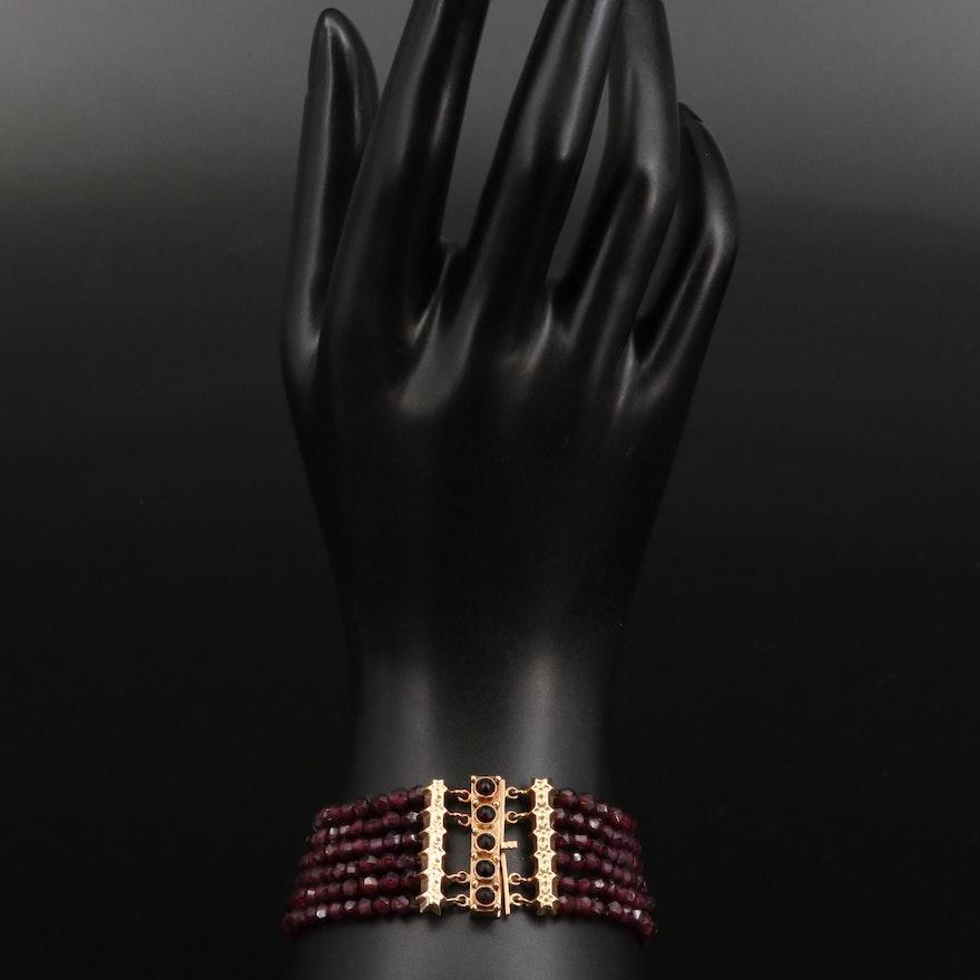 Vintage 14K Rhodolite Garnet Multi-Strand Bracelet
