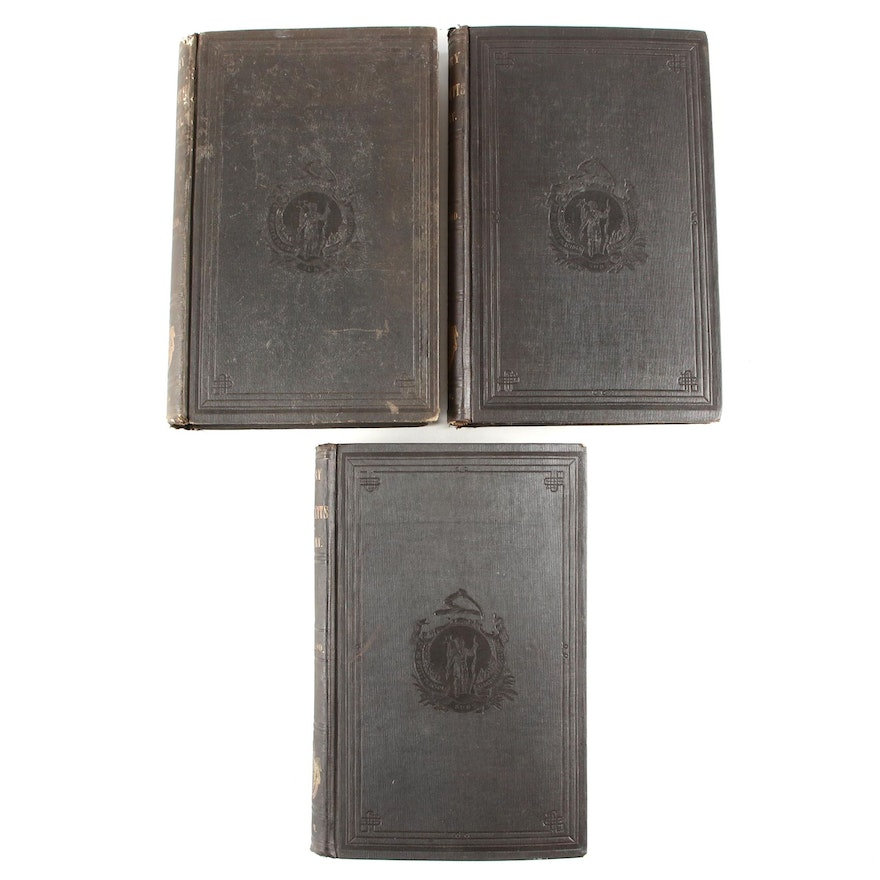 """First Edition """"The History of Massachusetts"""" Three-Volume Set by Barry, 1857"""
