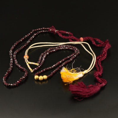 Beaded Garnet Necklaces Featuring 14K Accents and Cord Chains
