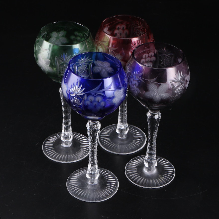 Bohemian Style Cut to Clear Crystal Wine Glasses, Late 20th Century