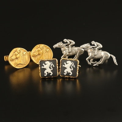 Horse Head, Horse and Jockey Motif and Wedgwood Porcelain Cufflinks