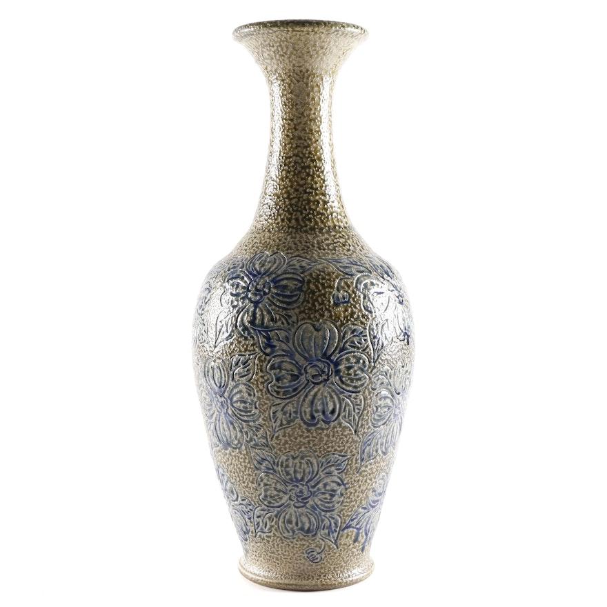 David and Deborah Garner for Turn & Burn Pottery Floral Motif Vase