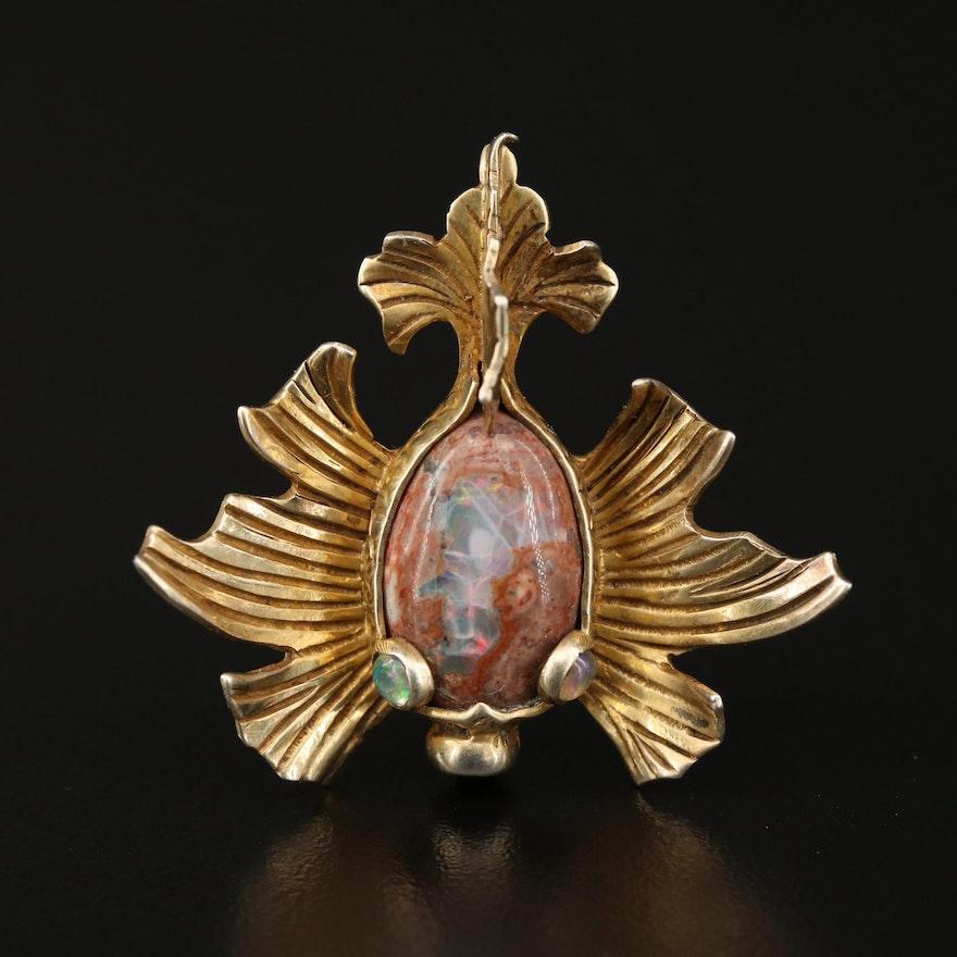 900 Silver Boulder Opal Koi Brooch