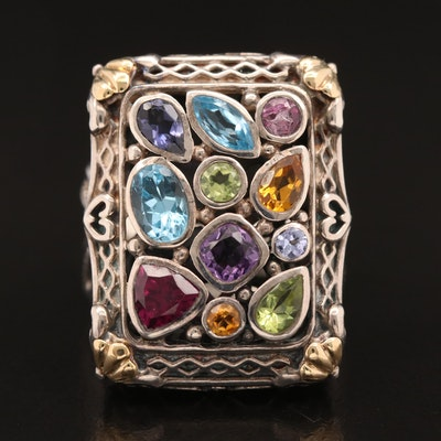 Sterling Silver Topaz, Garnet and Amethyst Ring with 18K Accents