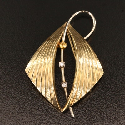 14K Diamond Brooch