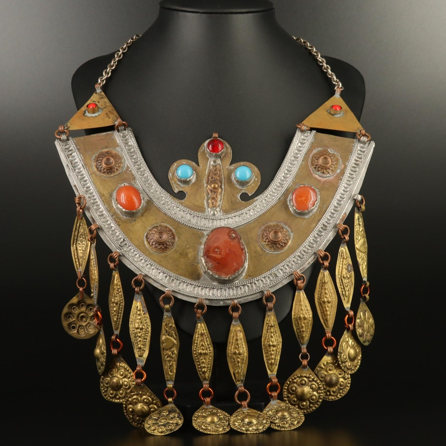 Vintage Berber Agate and Carnelian Pectoral Necklace