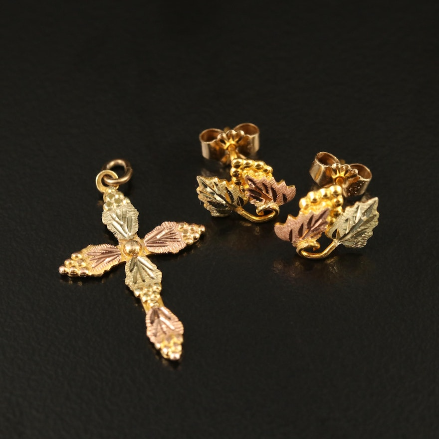 10K Tri-Color Gold Cross Pendant and Leaf Earrings