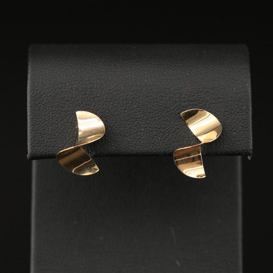 14K Split Wave Motif Earrings