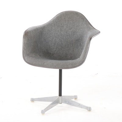 Eames Style Fiberglass Shell Chair with Upholstered Seat, Mid-20th Century