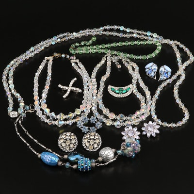 Vintage Jewelry Featuring Aurora Borealis Necklace and Australian Crystal Brooch