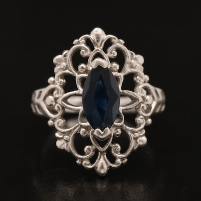 Platinum Sapphire Openwork Ring with Scrolling Design
