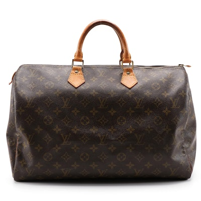 Louis Vuitton Speedy 40 Bag in Monogram Canvas and Vachetta Leather