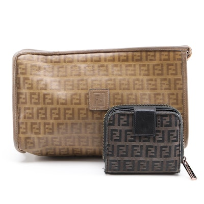 Fendi Zucchino Coated Canvas Clutch and Zucca Canvas and Leather Wallet