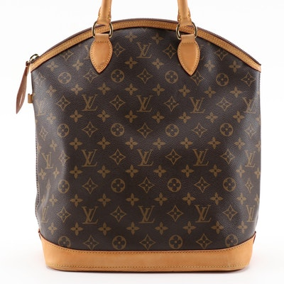 Louis Vuitton Lockit Vertical Bag in Monogram Canvas with Vachetta Leather Trim