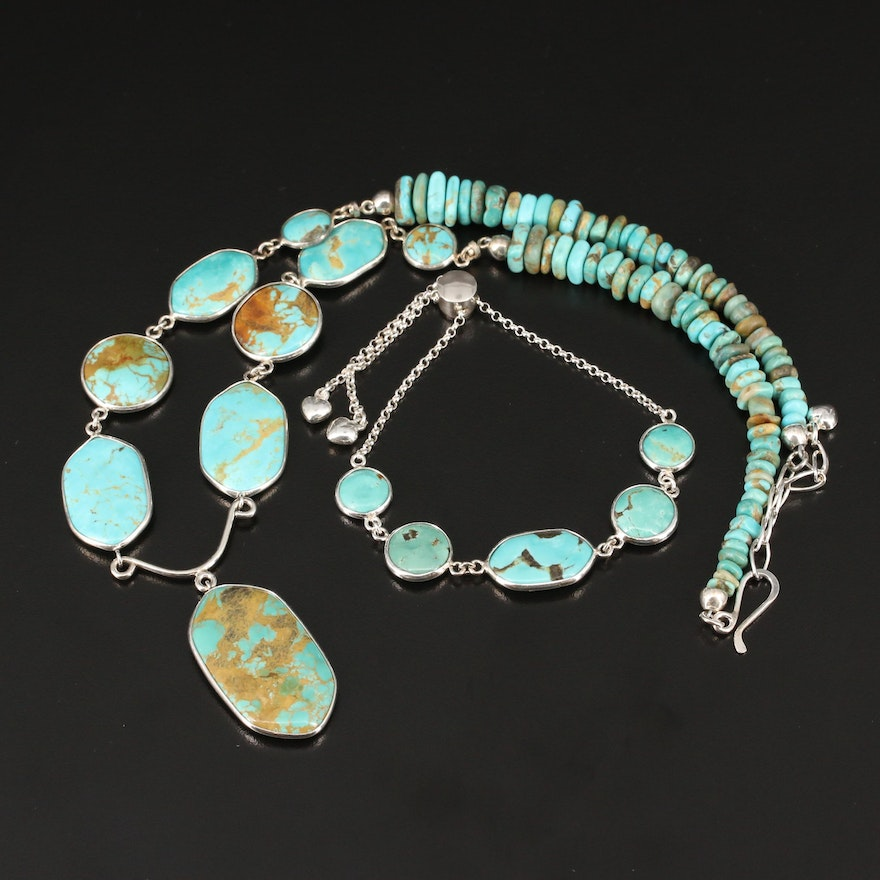Desert Rose Trading Sterling Turquoise Necklace and Bolo Bracelet