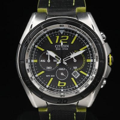 "Citizen ""Eco-Drive BRT"" Chronograph Stainless Steel Quartz Wristwatch"