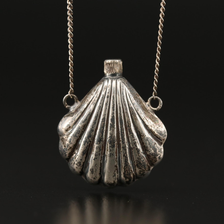 Sterling Silver Shell Motif Perfume Decanter Pendant Necklace