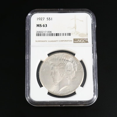 NGC Graded MS63 1927 Peace Silver Dollar