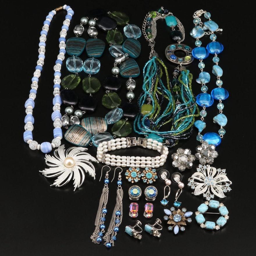Pearl, Glass and Faux Turquoise Jewelry Featuring Sterling Earrings