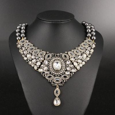 Heidi Daus Faux Pearl and Rhinestone Collar Necklace