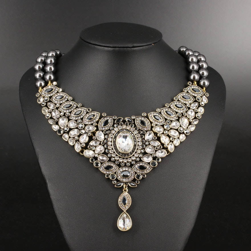 Heidi Daus Faux Pearl and Rhinestone Collar Necklace