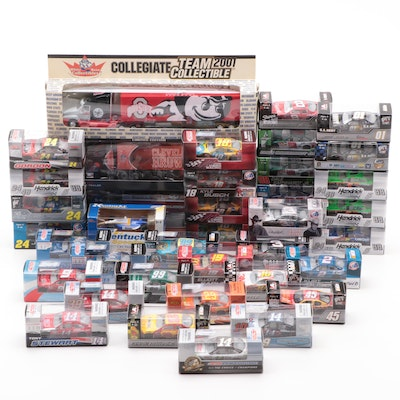 NASCAR 1:64 Diecast Model Cars and NFL Collectible Tractor Trailers