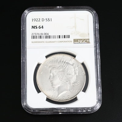 NGC Graded MS64 1922-D Peace Silver Dollar