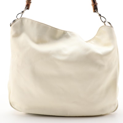 Gucci Bamboo Off-White Nylon and Leather Two-Way Handbag