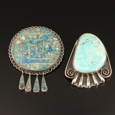 Mexican Turquoise Converter Brooch and Composite Stone Pendant
