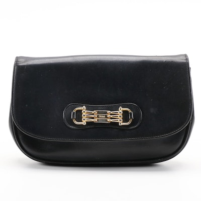 Céline Horsebit Navy Blue Leather Clutch