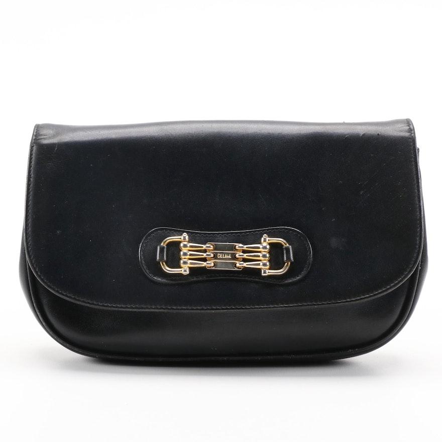 Céline Horsebit Navy Blue Leather Clutch