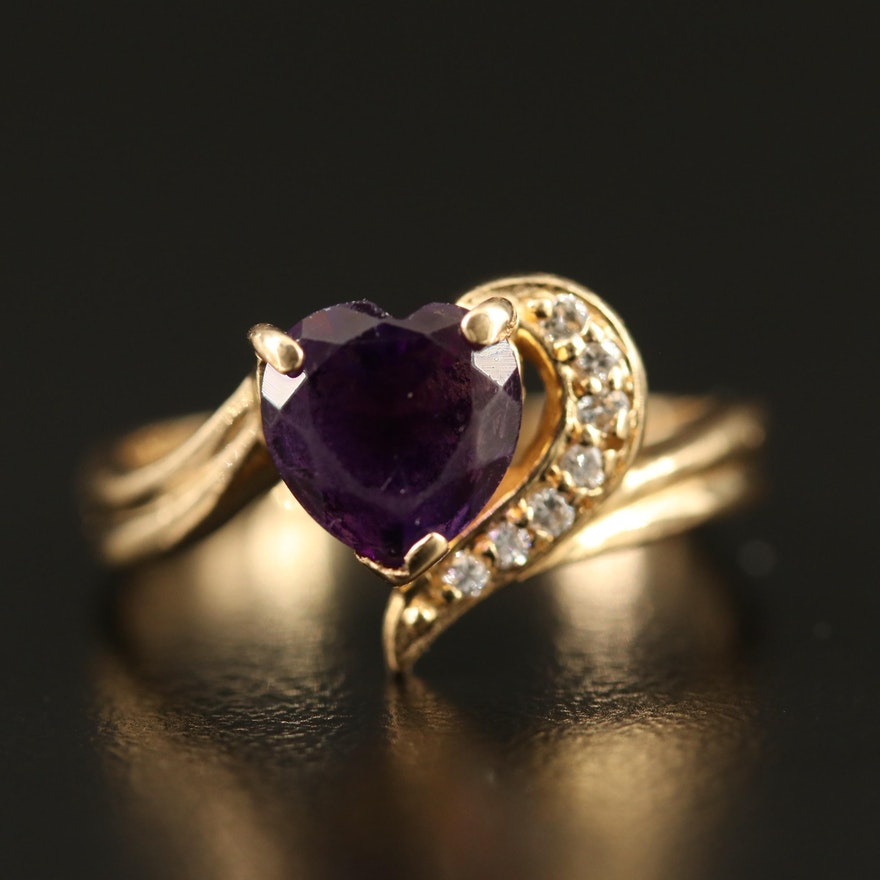 14K Heart Shaped Amethyst Ring with Diamond Accents