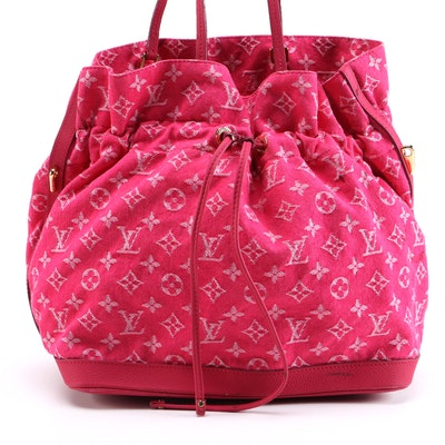 Louis Vuitton Noefull Tote Bag in Rose Indian Monogram Denim with Leather Trim