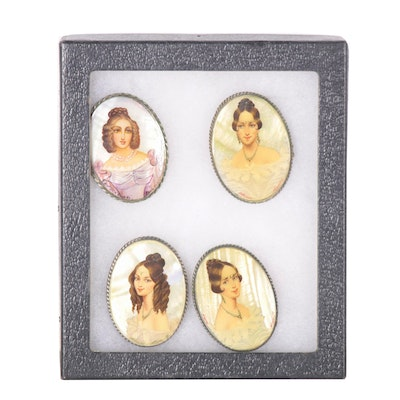Russian Hand-Painted Fedoskino Lacquer Portrait Miniature Brooch Fronts