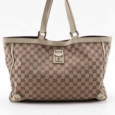 Gucci Abbey GG Canvas and Leather D Ring Tote Bag