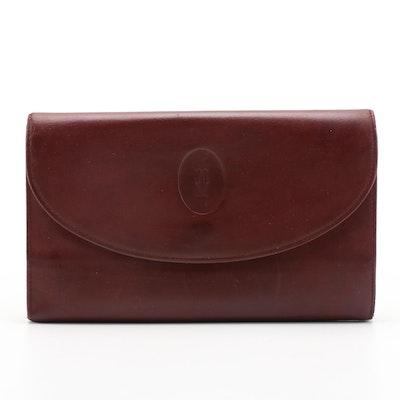 Cartier Burgundy Leather Clutch Wallet
