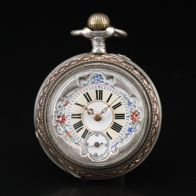 Ornate and Unusual Front Cover 800 Silver Pocket Watch