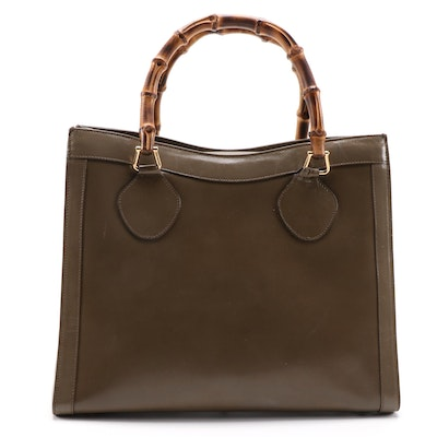 Gucci Bamboo Taupe Brown Leather Tote Bag