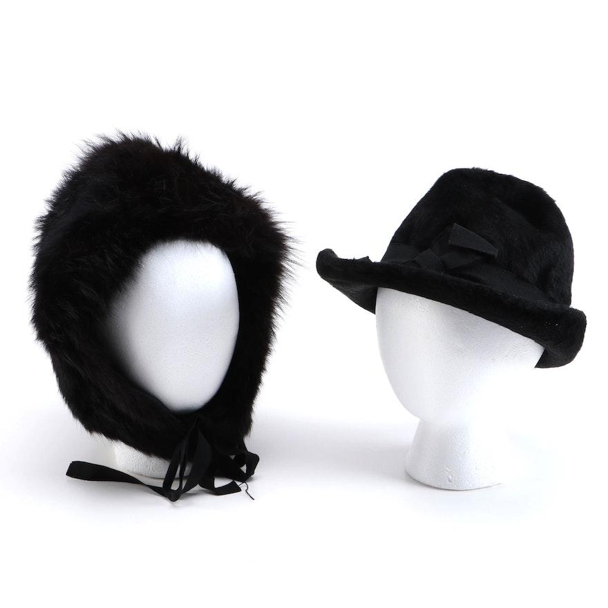 Black Bear Fur Bonnet and Black Fur Felt Cloche with Hat Box, Vintage