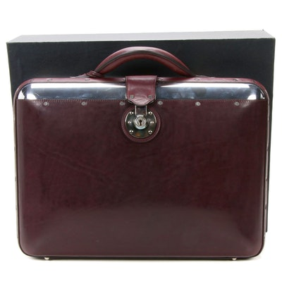 "Passavant and Lee ""No 25""  Burgundy European Leather and Aluminum Briefcase"
