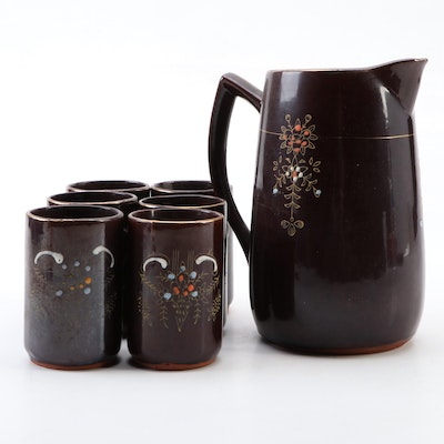Japanese Ceramic Lemonade Set with Moriage Accents, Early to Mid 20th Century