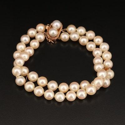14K Double Strand Pearl Bracelet