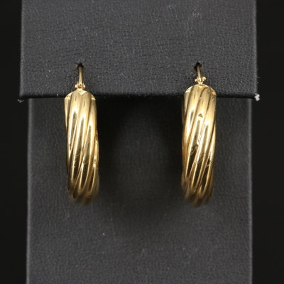 18K Fluted Hoop Earrings
