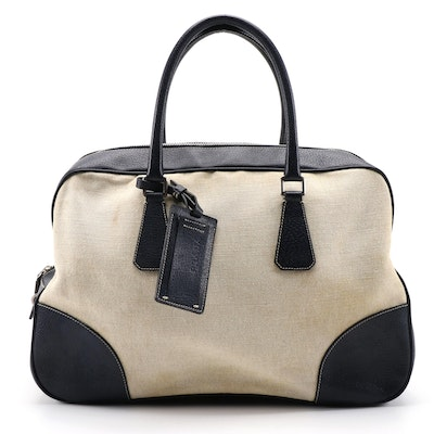 Prada Navy and Light Beige Canvas Bowler Bag