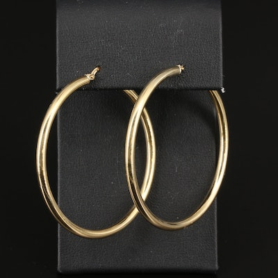 18K Cylindrical Hoop Earrings