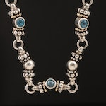 Caviar by Lagos 18K and Sterling Silver Topaz Necklace