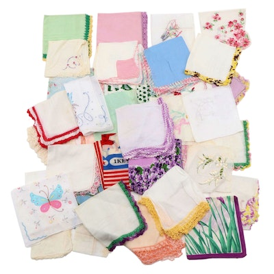 """""""I Like Ike"""" Political, Embroidered, Crochet and Other Handkerchiefs with Box"""