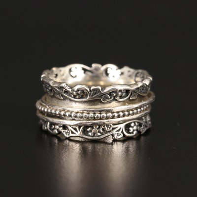 Sterling Silver Foliate Cigar Style Spinner Band